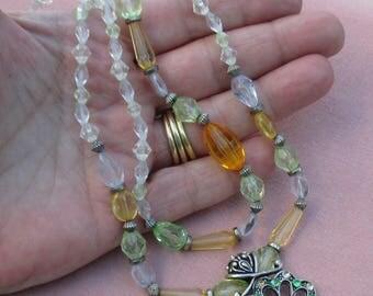 Retro Two Strand Acrylic Beaded Necklace  Flower Rhinestone Pendant