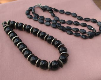 Lot Of Black Beaded Necklaces TLC