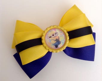 Minion Inspired Bow, Minion Birthday Bow.