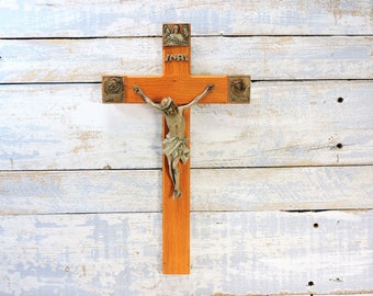 Wood Crucifix With Three Saints Beautiful Vintage Wall Cross Crucifix Religious Home Decor Easter Confirmation Gift Collectible Art