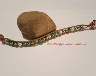 Irish Eyes Pearl and Leather Wrap Bracelet