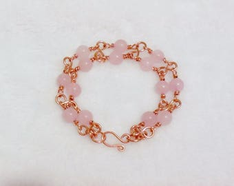 NEW~CC's Double strands Rose Quartz gemstone copper bracelet~