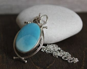 Larimar Oval Pendant Sterling Silver Necklace