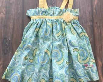 Girls summer JoJo sundress, green, blue, yellow and white paisley with flower accent, sizes 2T or 4T, ready to ship!