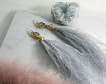 Sparkle Plume Feather Earrings