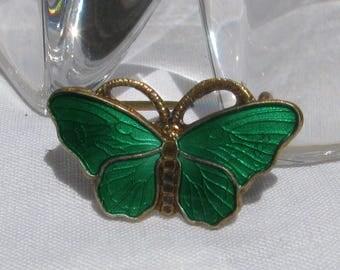 Gorgeous Early OPRO Signed Petite Green Guilloché Enamel Petite Vermeil Sterling Silver Butterfly Brooch, Norway