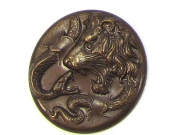 Lion Pendant, 30mm Brass Lions Head, Lion/Snake Pendant, Genuine Vintaj Jewelry Supplies, Made in the USA, Item 1503v