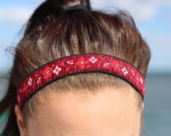 Nonslip Headband Adult Gift for Her - Embroidered Ribbon Headband with Flowers - Boho Hair Accessories Flower Head Band