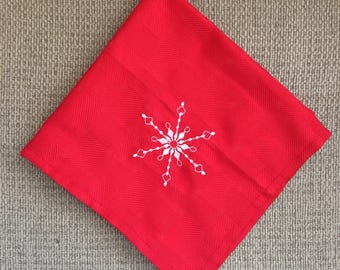 Napkins Embroidered with Snowflakes (Set of 4)