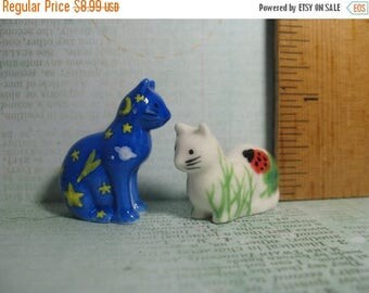 SALE Happy Art CATS Kittens kitty cat kitten - set of 2 - French Feve Feves Figurine Tiny Miniature W113