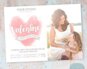 ON SALE Valentine Photography Marketing Template  -  Mini Sessions - Photoshop template - IV015 - Instant Download