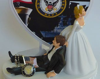 Wedding Cake Topper U.S. Navy Themed Enlisted Military Troops Bride Dragging Groom Humorous Funny Heart Flag Dog Tags w/ Garter Centerpiece