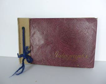 Vintage Autograph Book 1945, blank apart from two pages have writing. Good condition