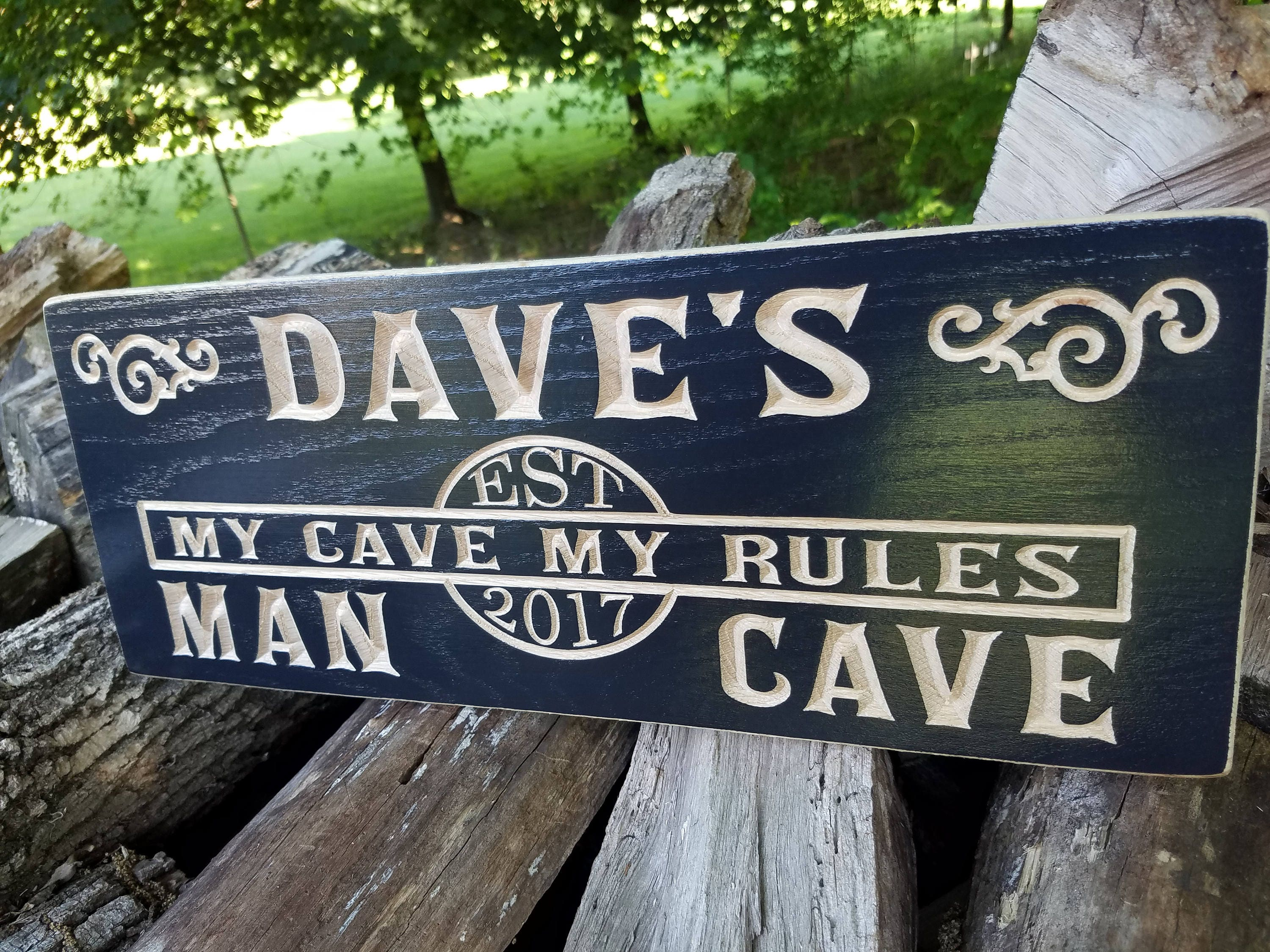 Oak Wood Signs ~ Personalized man cave sign wooden carved custom wood