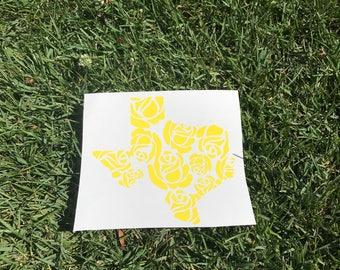Yellow rose texas decal/tumbler decal/car decal