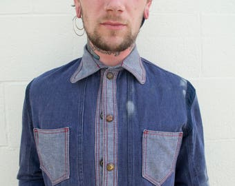 Double Breasted Patchwork Denim Snap Button Shirt