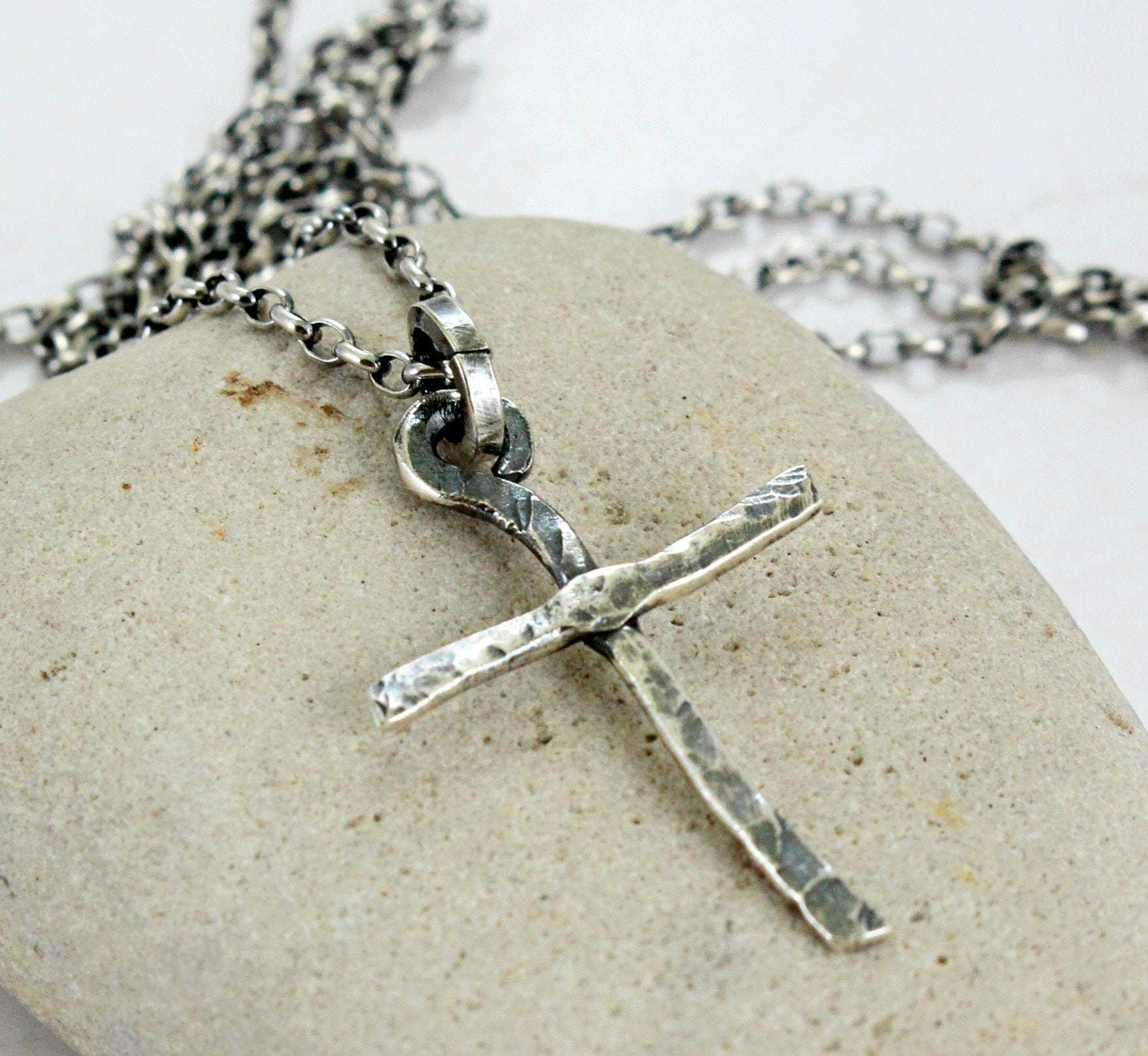 Handmade hammered sterling silver Cross Necklace with black