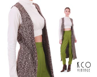 90s Vtg Duster Cardigan Vest Speckled Knit Long Sweater Top Retro Vintage Clothing Made in France Women's Size XS