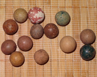 Lot of 13 Antique Marbles / Clay Marbles / Toy Marbles / Collectible Marbles / Game Marbles / Lot #13