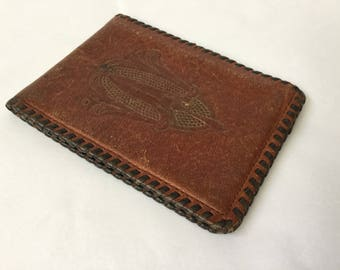 Vintage 30s,  Edwardian Style Wallet, Brown, Embossed, Tooled Leather, Whip Stitch, Edge Lacing, Art Nouveau, Plastic Window, Billfold