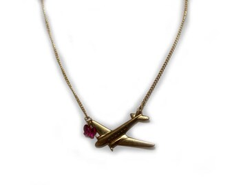 Vintage aeroplane gold tone locket with Swarovski crystal butterfly