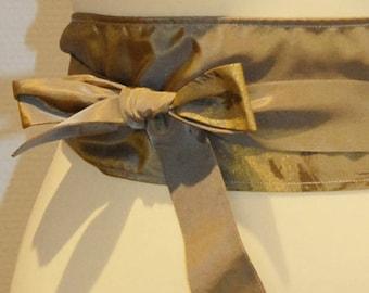 101 fabric tie belt shiny khaki/Brown pattern