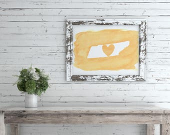 Tennessee Love Watercolor Painting * 4X6 * Tennessee Orange * Printable Digital Download
