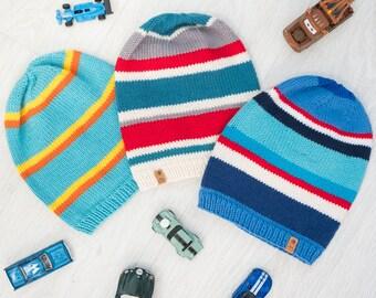 BEANIES for Kids / Stripes Beanie / Cuff Beanie / Kids Spring Fall Hat / Toddler Slouchy Beanie / Hipster Beanie Kids Beanies / Child Beanie