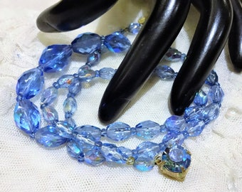 Vintage Strand of Faceted Blue AB Glass Bead Necklace