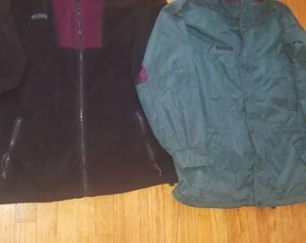 2 n 1 columbia long's peak mens Vintage 80s 90s ski  jacket sz large COlorblock