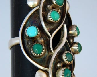 Zuni Native American Pawn Turquoise Snake Eye Sterling Silver Ring Size 8 1/2