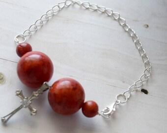 Gift-For Best Friend, Sterling Silver, Bracelet For Best Friend, Best Friend Bracelet, Cross Pendant, Cross Jewelry, Silver Bracelet