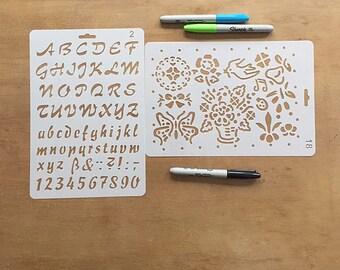 2-pack Journal Stencil, Planner Stencil, Alphabet Stencil, Script Stencil, Art Stencil - Cursive + Floral