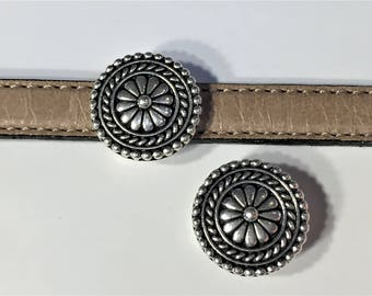 10mm Flat Slider, Bali Button Zamak, Pewter Metal Slider for Flat leather bracelets, Jewelry supplies, Flat leather strap finding