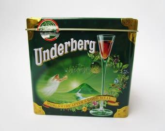 SALE 25%  Retro style tin UNDERBERG Schnapps, collection box Emil Underberg