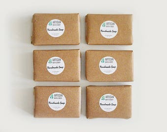 6 Mini Soap Samples | Handmade Cold Process Hand and Body Wash Bars, Homemade Gift, Artisan, Trial Size Pack, Great for Traveling, Camping