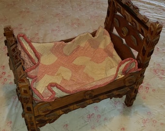 Antique Doll Bed with Hand Stitched Doll Quilt, ca 1900, Tramp Art, Folk Art, Eastlake
