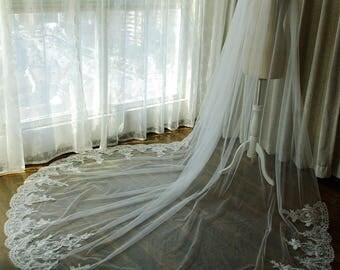 Star Shine 1T Cathedral Lace Veil With Comb Ivory Wedding Veil Long Veil