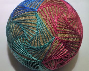 Japanese Temari Ball Pink, Teal, Blue, Purple on Tan Pentigan
