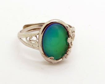Sterling silver flower wrap Setting Mood Ring, Adjustable