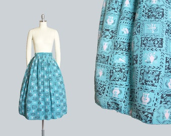 Vintage 1940s Skirt | 40s Novelty Print Blue Rayon Archery Bows Arrows Hats Floral Geometric Pleated Full Skirt (xs)