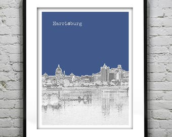 Harrisburg Poster Art Skyline Print Pennsylvania PA Version 1