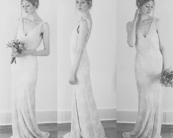 EDWINA - fishtail, body con wedding dress made with ivory lace raschel and lined in ivory silk - romantic, demure, simple lace wedding dress