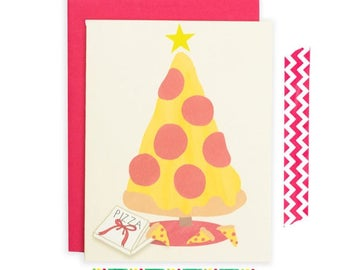 Moving SALE Funny Christmas Card, Pizza Christmas Card, Pizza Holiday Card, Pizza Greeting Card, Christmas Card