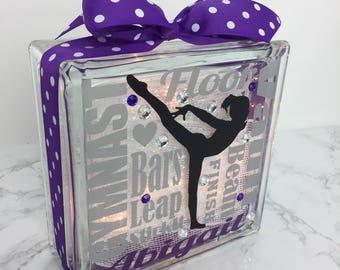 GemLight - Gymnast Doing Scale Typography, Gymnastics Accessories, Gymnastics Decor, Gymnastics Party, Personalized