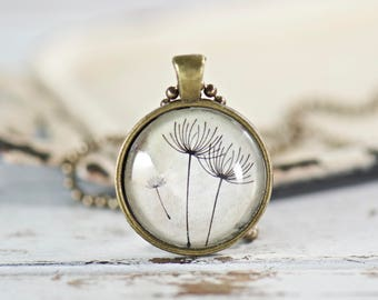 Beige Dandelion Pendant Necklace, Glass Pendant, Make a Wish Gift, Gifts for Mom, Gifts for Her, Mother's Day Gift, Jewelry Gifts Under 20