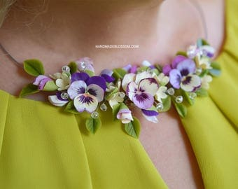 Pansies necklace, Pansy flowers jewelry, Fimo flowers necklace, Purple wedding jewelry, Bridal accessories, Purple and yellow flowers