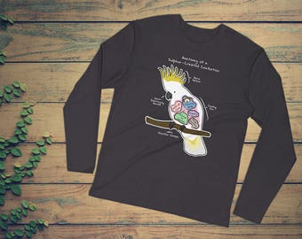 Anatomy of a Sulphur-Crested Cockatoo - Funny Bird Tee - Long Sleeve Fitted Crew