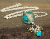RESERVED for D. Blue Artisan Cluster Necklace. Handmade Jewelry. Luxe Glass Jewelry