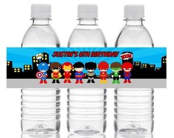 FLASH SALE Superhero Water Bottle Labels